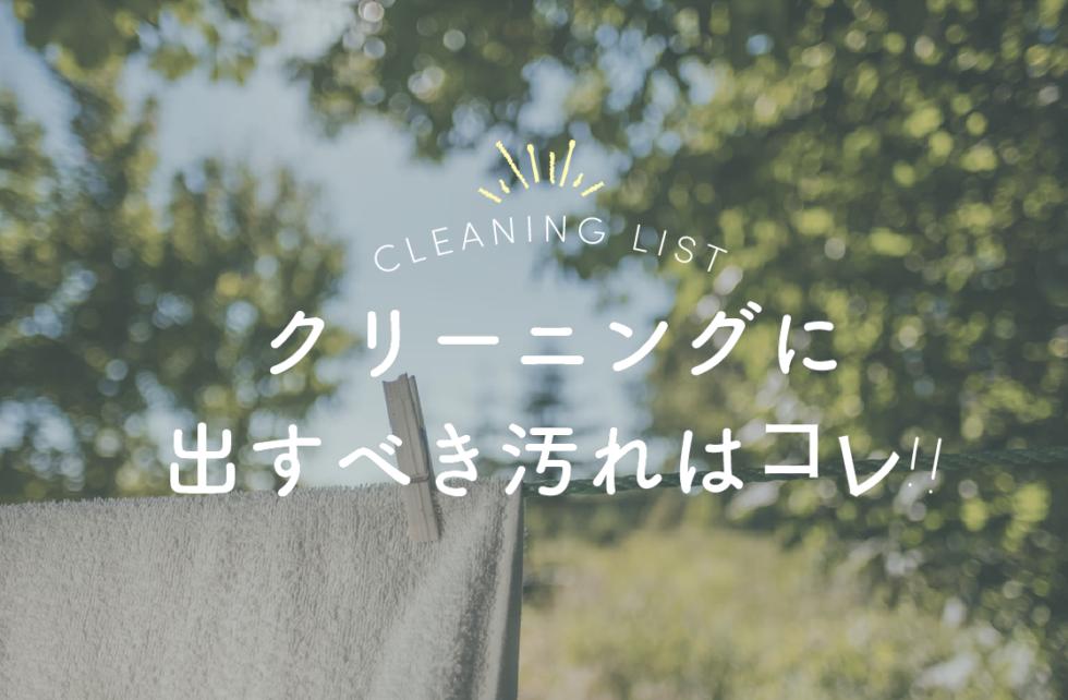 洗濯で落ちない汚れはどうする?クリーニングに出すべきもの一覧